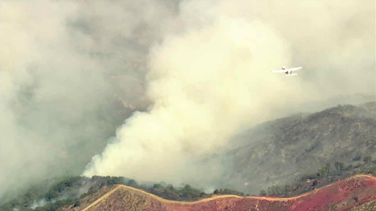 Fire crews battle the massive Sand Fire in the Santa Clarita Valley area on Monday, July 25, 2016.