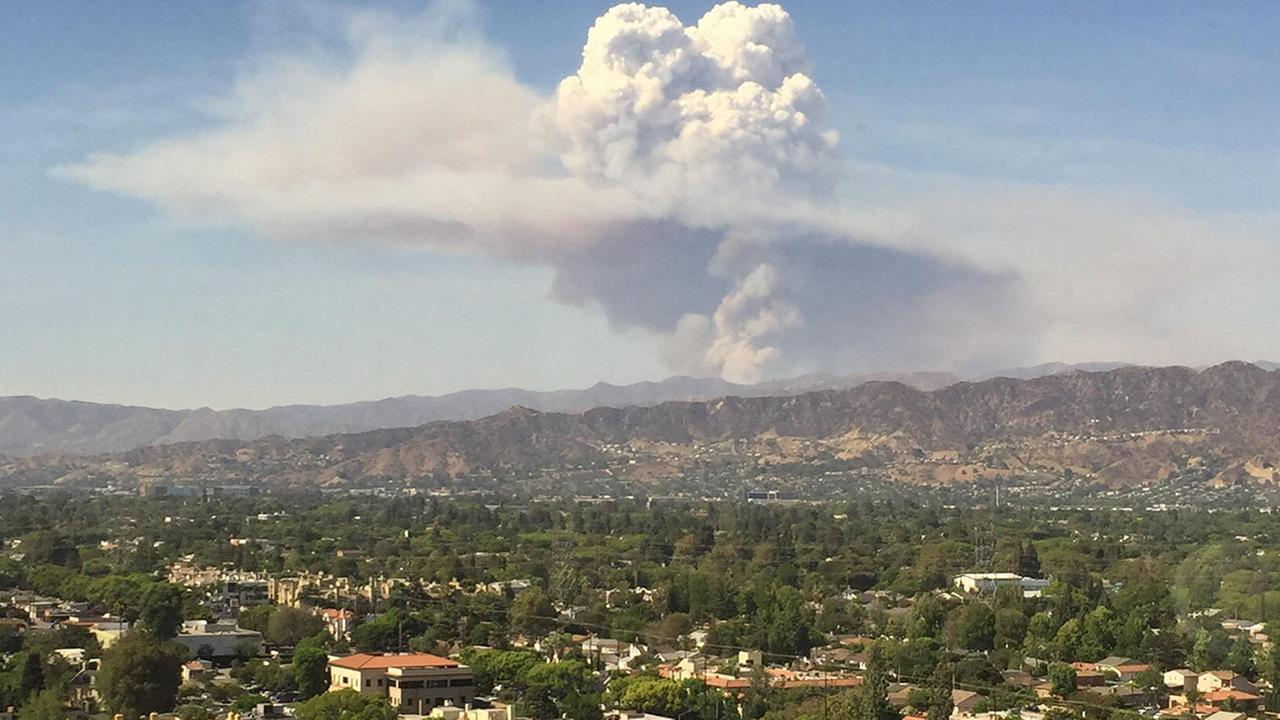 Photo of smoke produced from the Sand Fire taken in Burbank, California. This picture was sent to ABC7 Eyewitness News via the ABC7 app.
