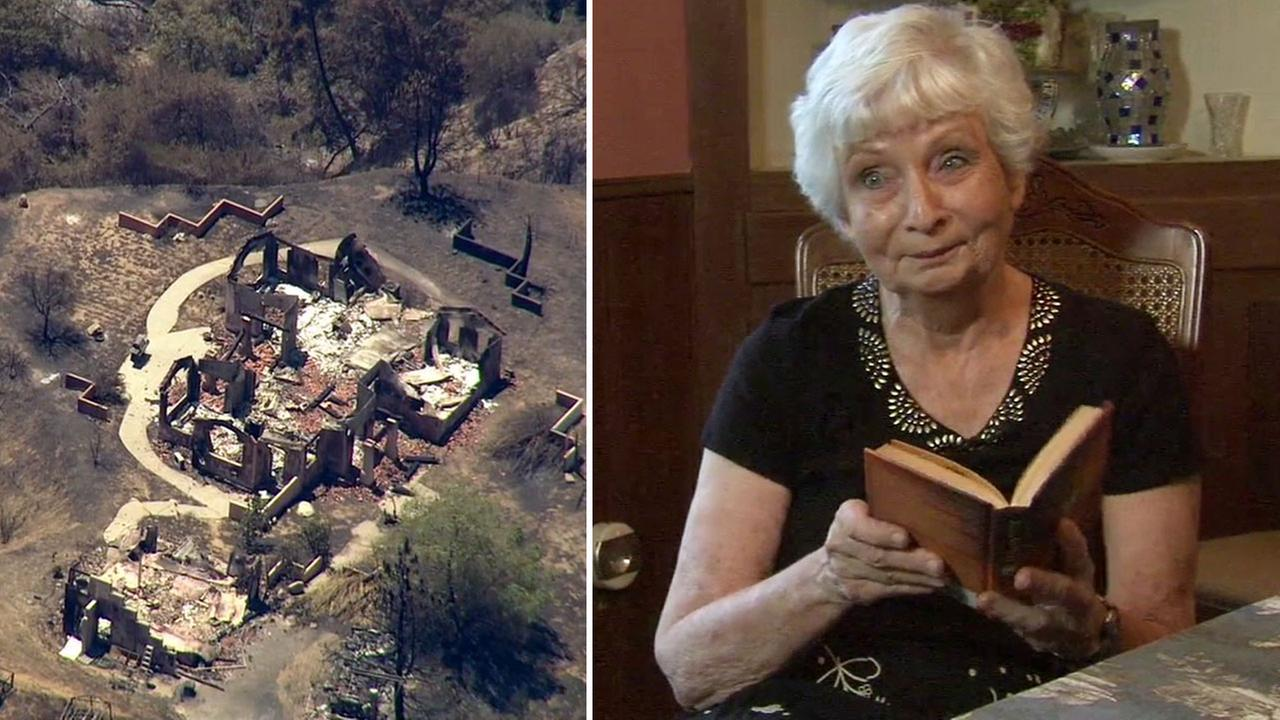 Despite her home being destroyed in the Sand Fire, Jan Sanborn said her faith has given her peace.
