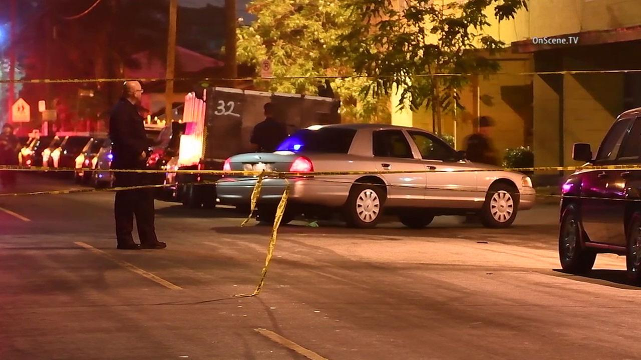 Authorities shut down streets in Watts after an officer was injured in a shooting between two suspects on Monday, July 25, 2016.