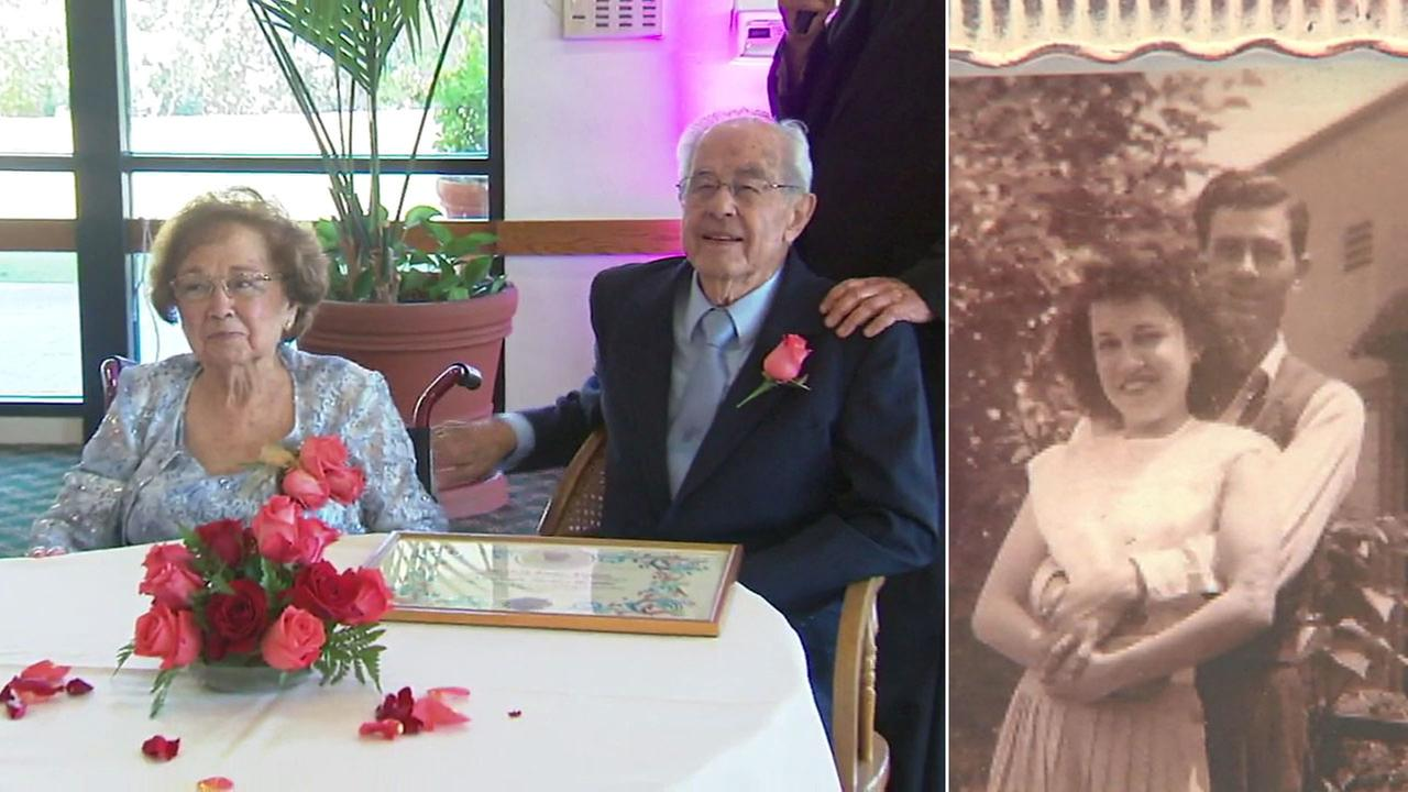 Albert and Bernice Trujillo are shown during their 75th wedding anniversary alongside an old photograph of them.