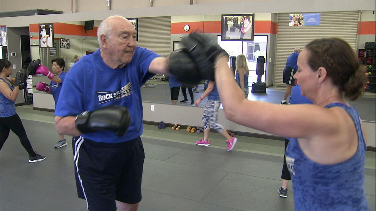 Patients with Parkinsons disease participate in Rock Steady Boxing class at Kaizen Martial Arts in Monrovia.