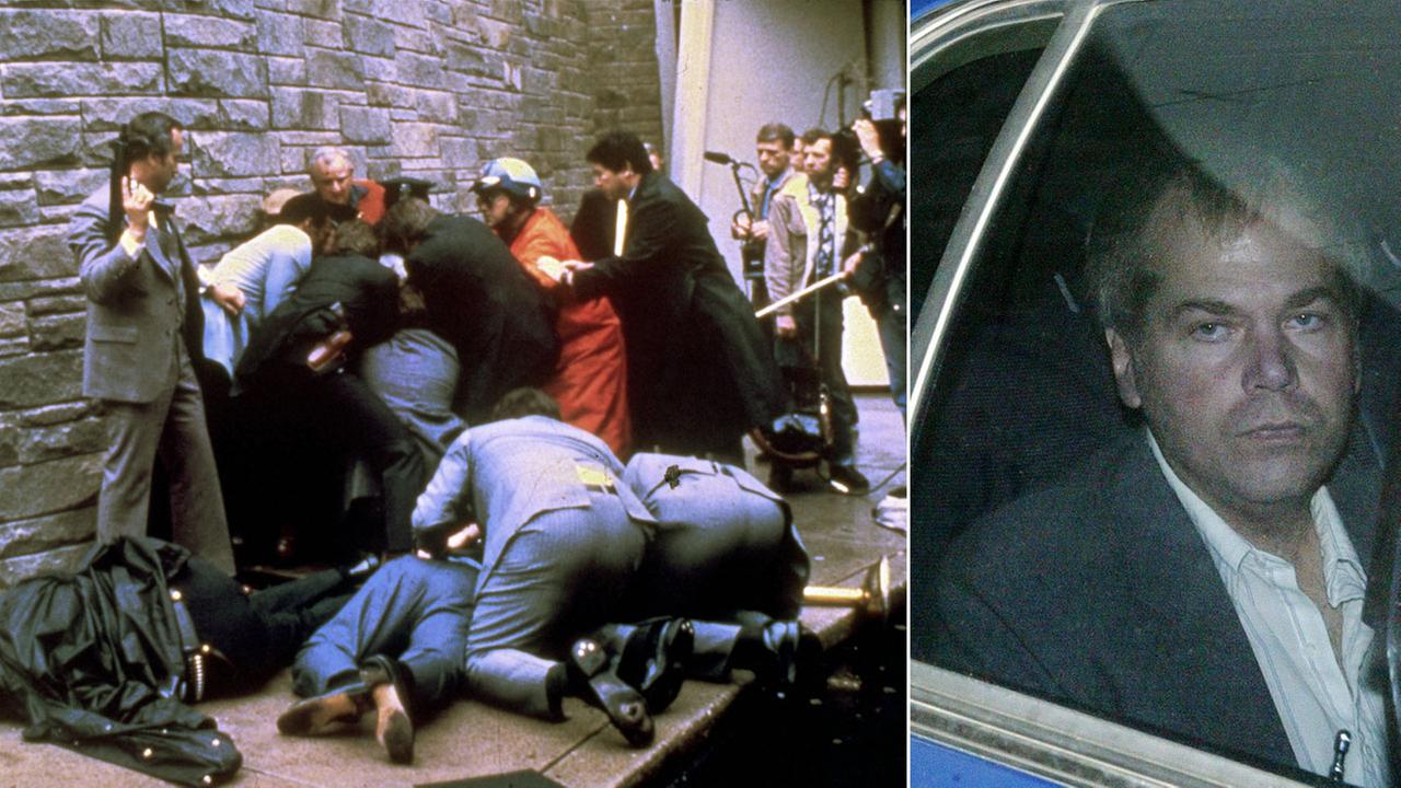 An image shows the aftermath of an assassination attempt on President Ronald Reagan, in Washington, D.C., March 30, 1981, alongside a file photo of shooter John Hinckley, Jr.