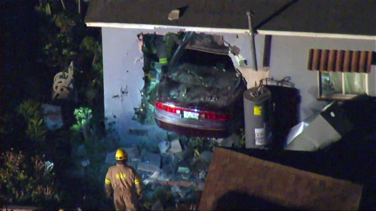 Several people were injured when a  car crashed into a home in the 14800 block of South Orchard Avenue in Harbor Gateway on Wednesday, July 27, 2016.