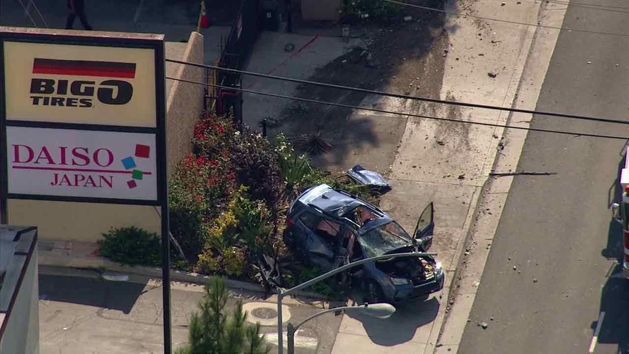 The scene of a deadly crash after a driver slammed into a building in Santa Ana on Friday, July 29, 2016.