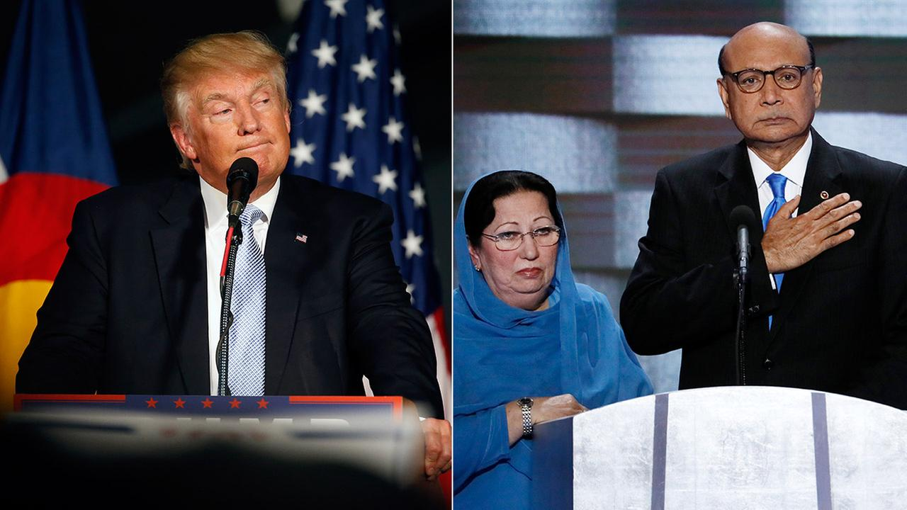 Donald Trump speaks during a campaign rally in Denver, Colo. (left), and Ghazala and Khizr Khan at the Democratic National Convention (right).