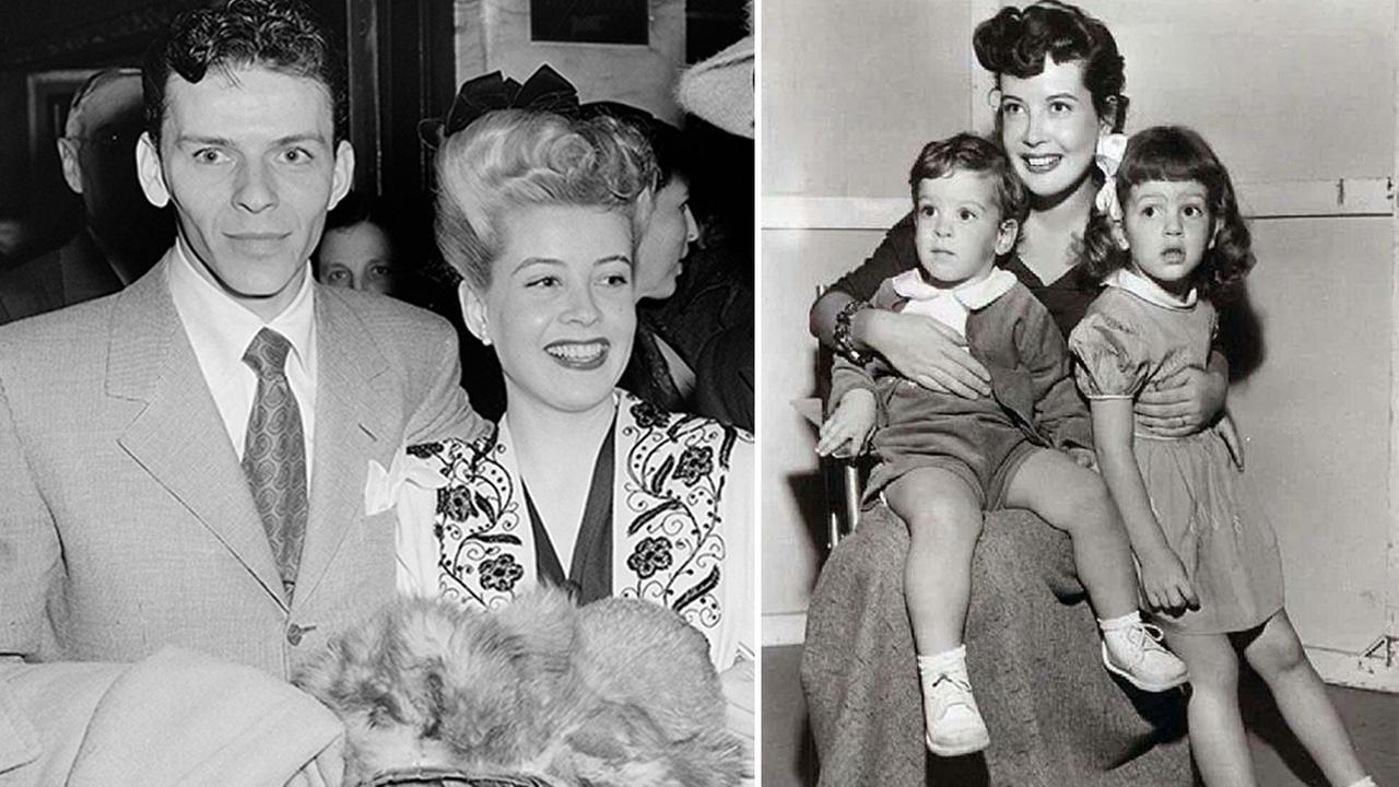 Glorida DeHaven poses for a photo with Frank Sinatra in Los Angeles on Feb. 24, 1944 (left), and with two of her children (right).