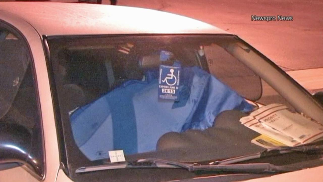 Diane Stretton hides in a windshield cover at the Upland Police Department parking lot on Friday, June 27, 2014.
