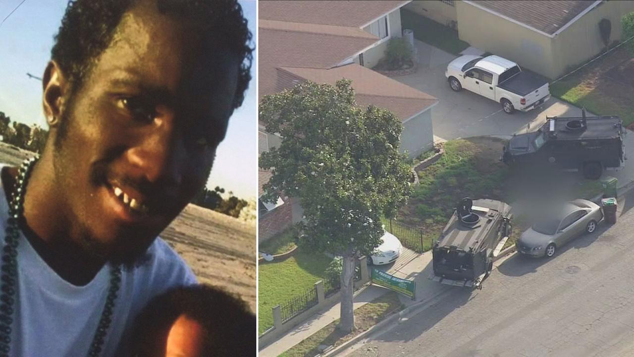 Donnell Thompson, 27, is shown in an undated photo alongside the scene where he was shot by sheriffs deputies in a Compton neighborhood.