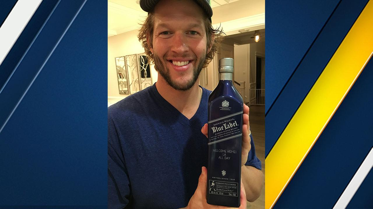 Dodgers ace Clayton Kershaw welcomed the Rams to Los Angeles by sending 200 bottles of Johnny Walker Blue to the team engraved with Welcome Home! LA All Day.