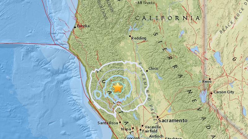 A 5.1-magnitude earthquake struck in Upper Lake, California at 7:57 p.m., according to the USGS.