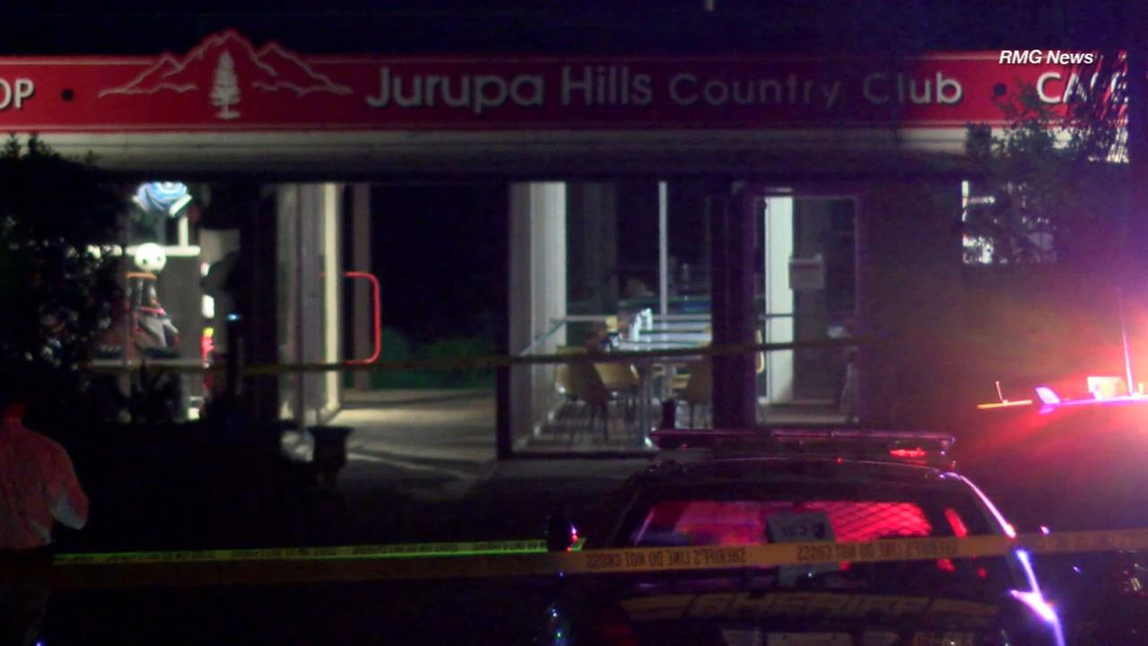 Authorities responded after two men were shot, one fatally, outside a country club in Jurupa Valley on Wednesday, Aug. 10, 2016.
