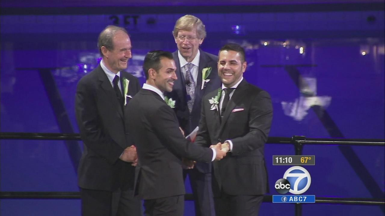 Paul Katami and Jeff Zarrillo, widely known for their federal lawsuit against Californias Proposition 8, renewed their vows in Beverly Hills Saturday, June 28, 2014.
