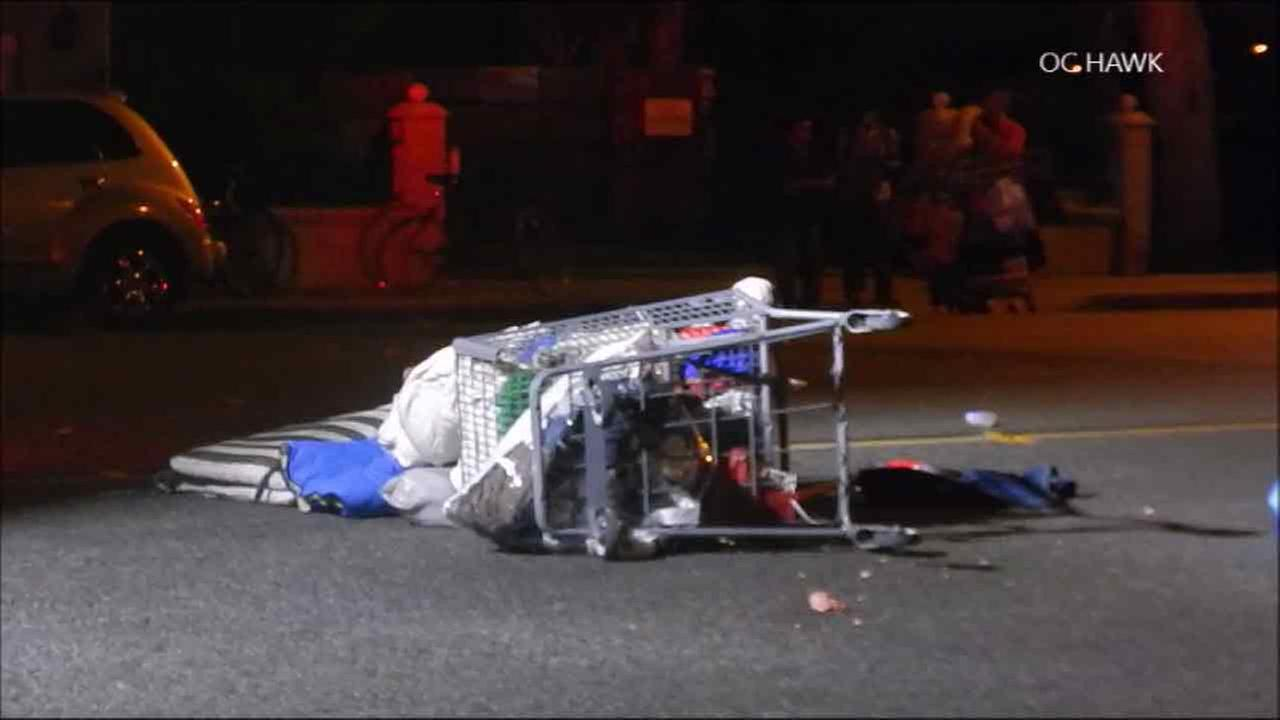 A shopping cart left at the scene of a fatal hit-and-run in Garden Grove flipped over on the street on Sunday, Aug. 14, 2016.