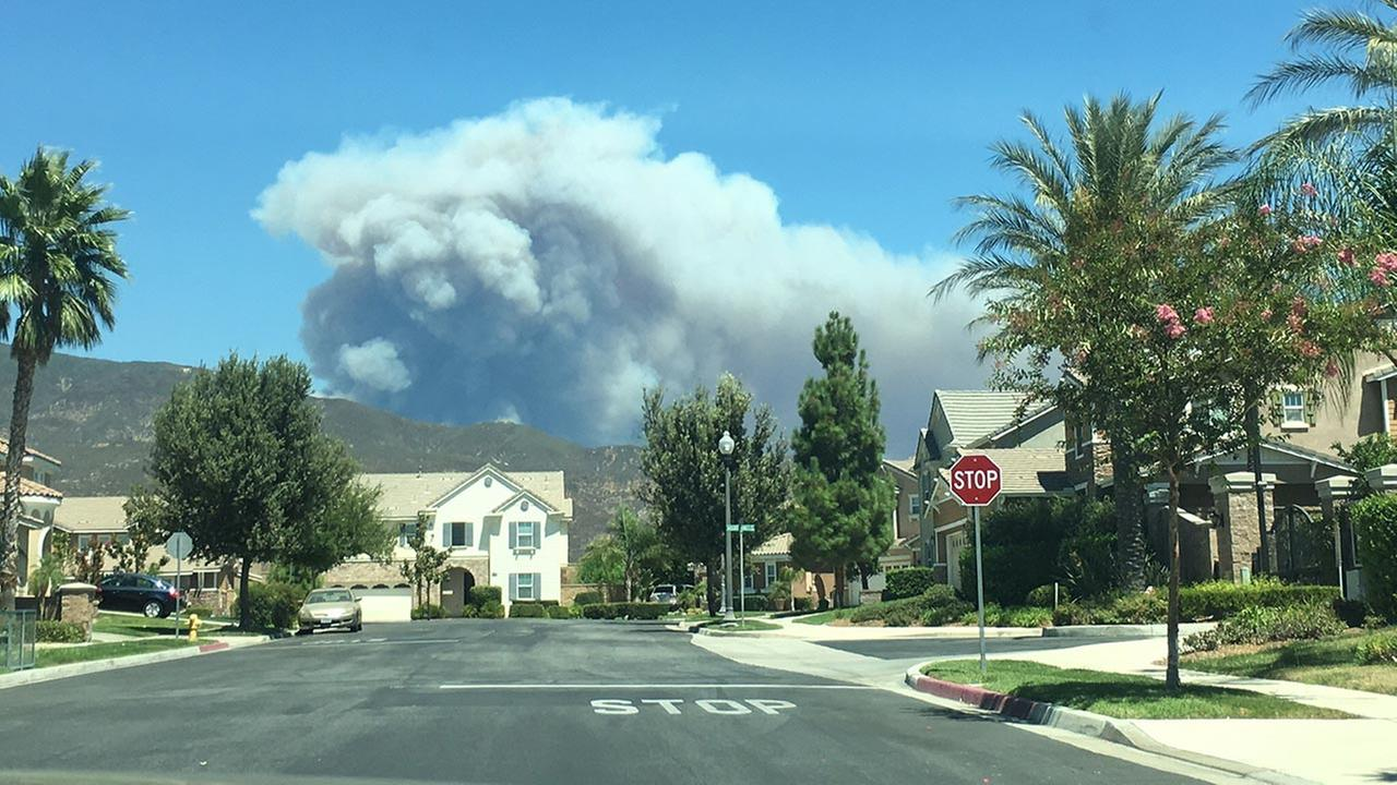 Photo taken of the Blue Cut Fire in the San Bernardino National Forest from Fontana, California, on Tuesday, Aug. 16, 2016.Rita Renee