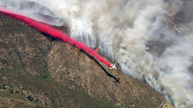 "<div class=""meta image-caption""><div class=""origin-logo origin-image kabc""><span>KABC</span></div><span class=""caption-text"">A plane drops fire retardant while battling the Blue Cut Fire in the San Bernardino National Forest on Tuesday, Aug. 16, 2016.</span></div>"