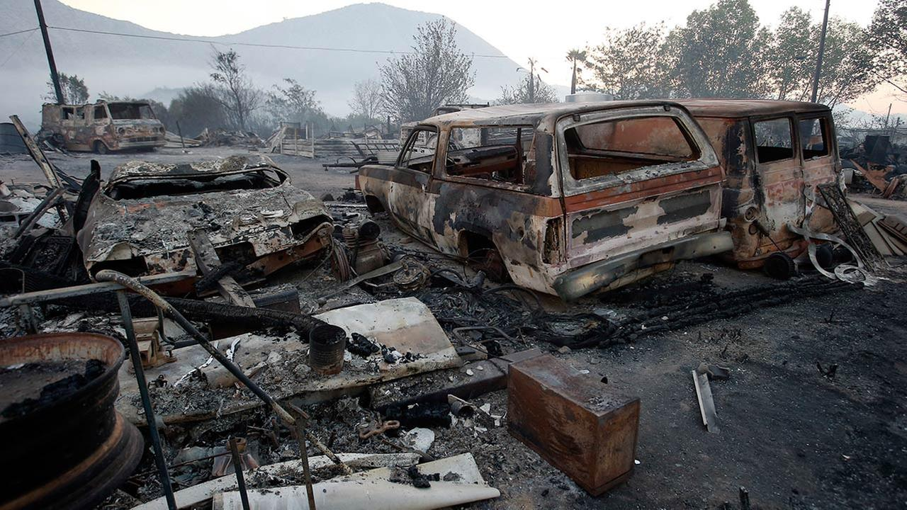 Burned property at Hess Road and Highway 138 shows the devastation of the Blue Cut fire in West Cajon Valley, Calif., Wednesday, Aug. 17, 2016.Alex Gallardo