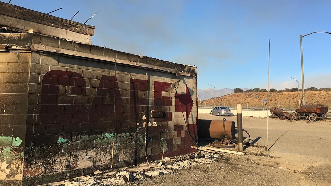 Photo shows the devastation left in the wake of the Blue Cut Fire in San Bernardino County.