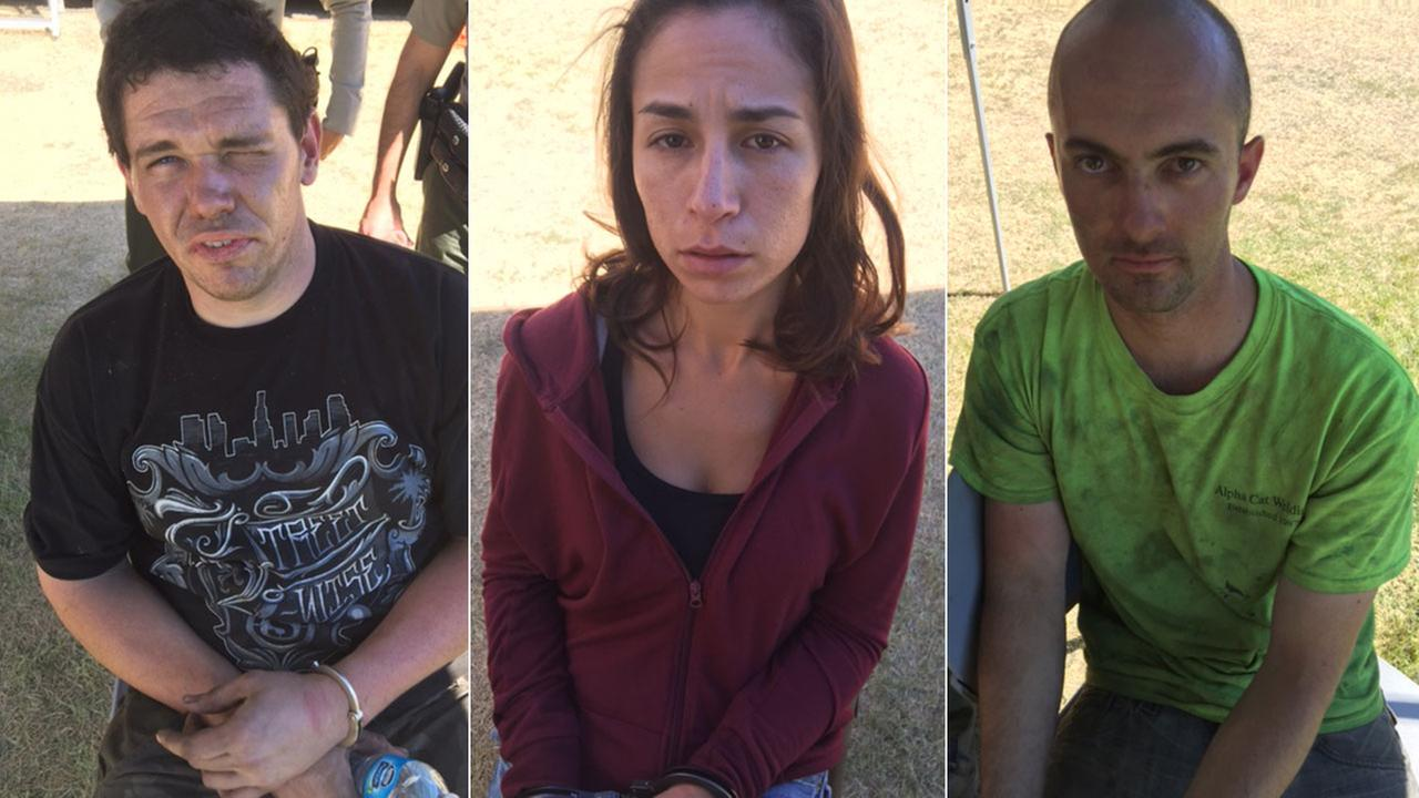 Daniel Mervine of Jurupa (left), Natasha Rovinsky of Diamond Bar (center) and Trevor Sanchez of Riverside (right) were arrested for trying to loot an evacuated San Bernardino home.