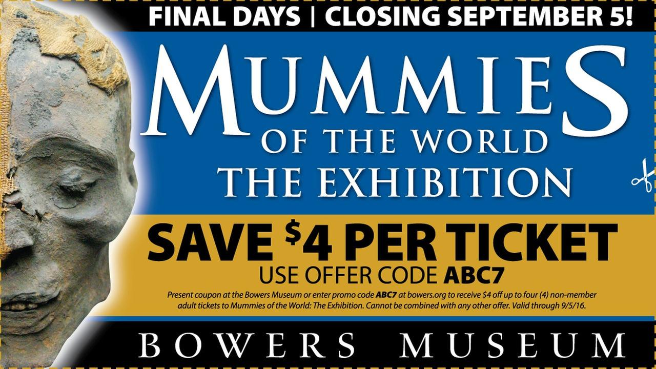Coupon for Mummies of the World at the Bowers Museum in Santa Ana