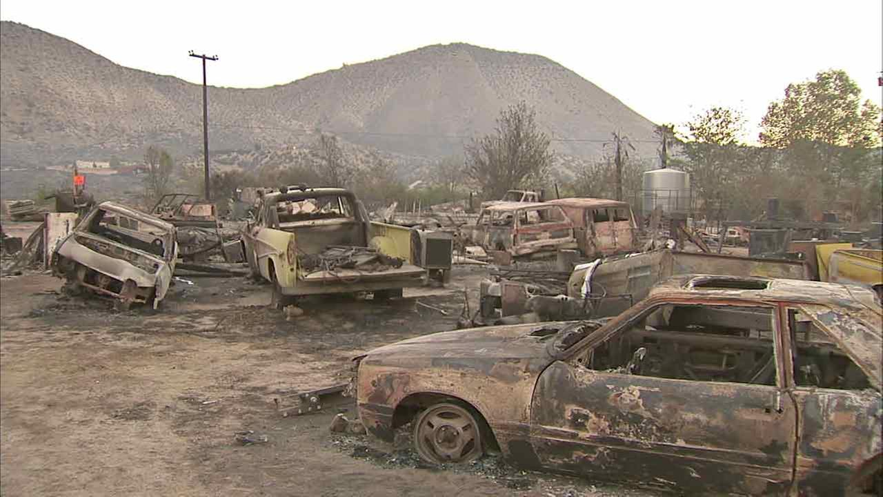 Several vehicles charred on Friday, Aug. 19, 2016, in the massive Blue Cut Fire that raced through the San Bernardino National Forest.
