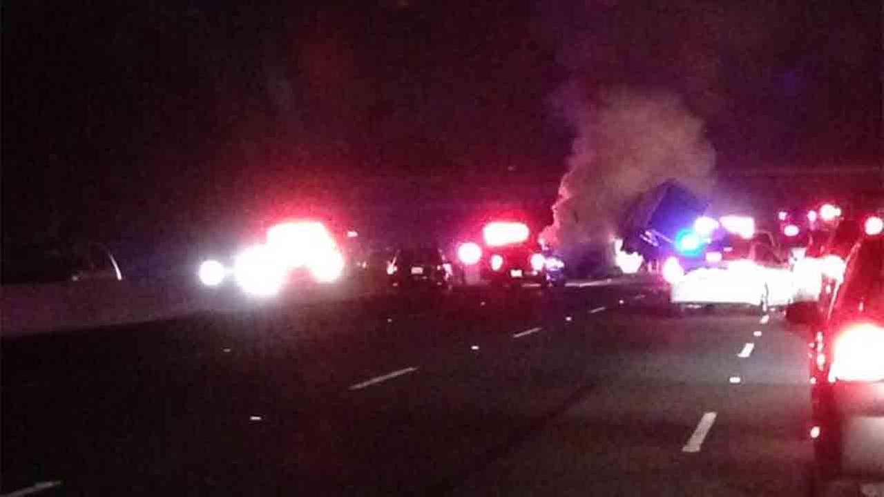 A fiery big-rig collision prompted the closure of all lanes on the 101 Freeway at Lindero Canyon in Westlake Village Sunday, June 29, 2014.