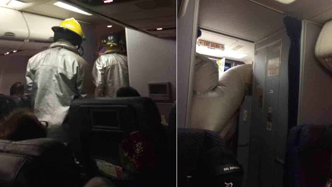 A United flight from Chicago to Santa Ana made an emergency landing in Wichita, Kan. Sunday, June 29, 2014 after the emergency evacuation slide accidentally deployed.