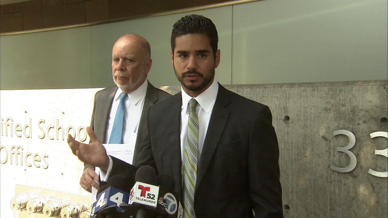 Attorneys Michael Carrillo, right, and Luis Carrillo speak at a press conference outside Los Angeles Unified District Headquarters on Monday, Aug. 22, 2016.