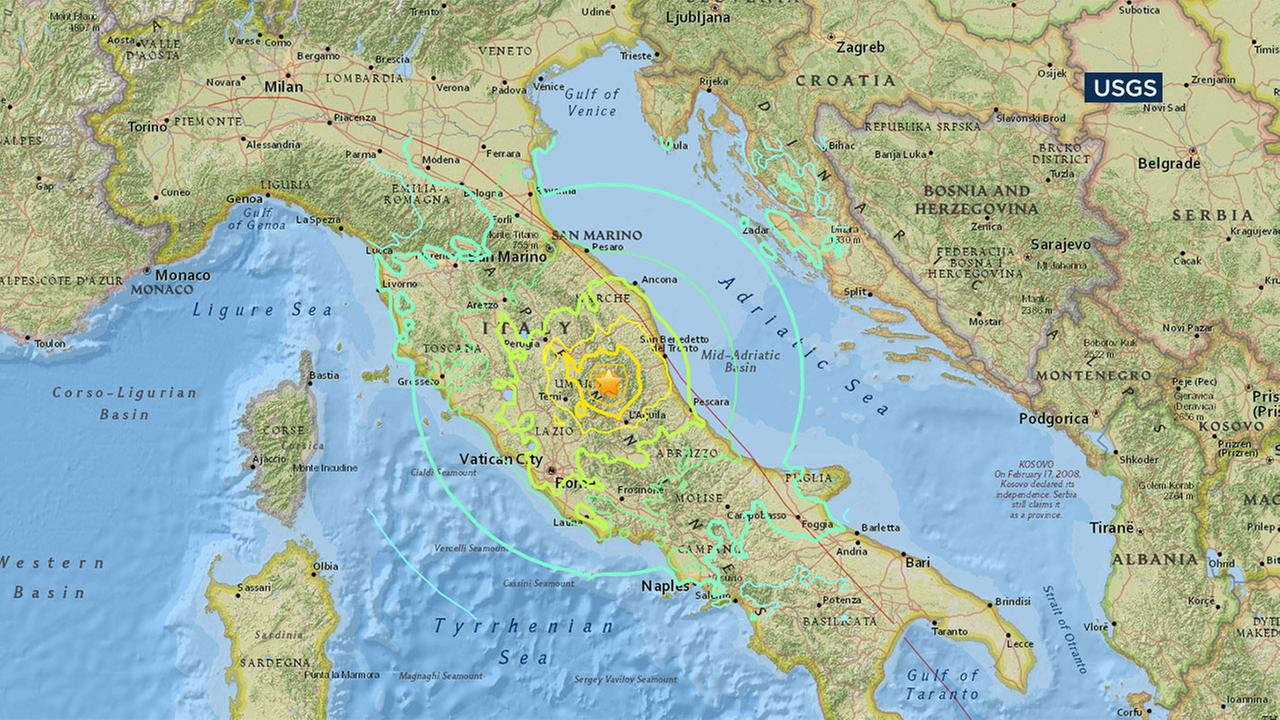 An earthquake estimated at a preliminary magnitude of 6.1 rattled Rome and parts of central Italy on Tuesday, Aug. 23, 2016.