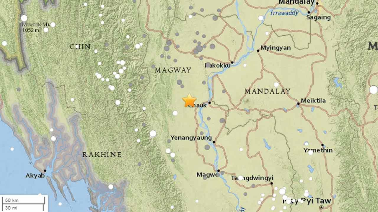 A powerful earthquake measuring a preliminary magnitude of 6.8 shook central Myanmar Wednesday, Aug. 24, 2016.
