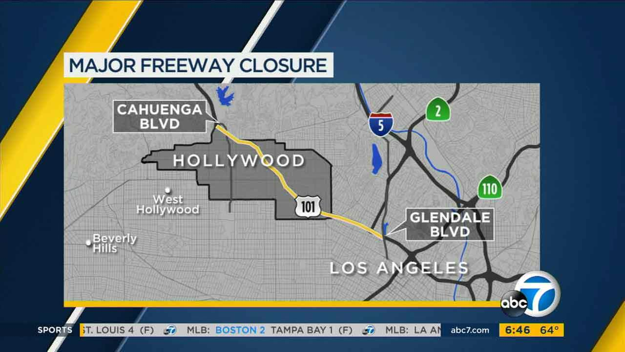 A map of closures on the 101 Freeway expected to take effect on Sunday, Aug. 28, 2016.