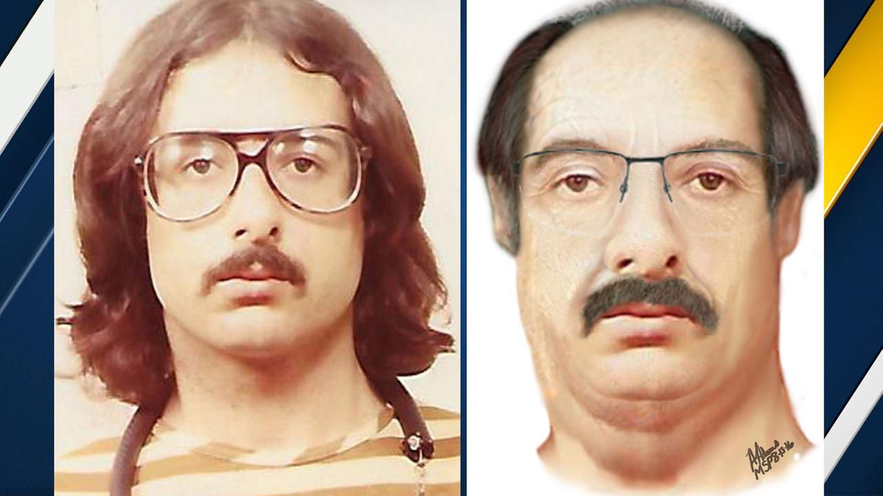 An old photo of murder suspect John Gentry Jr. is shown alongside an age-progressed photo of him provided by Michigan authorities.
