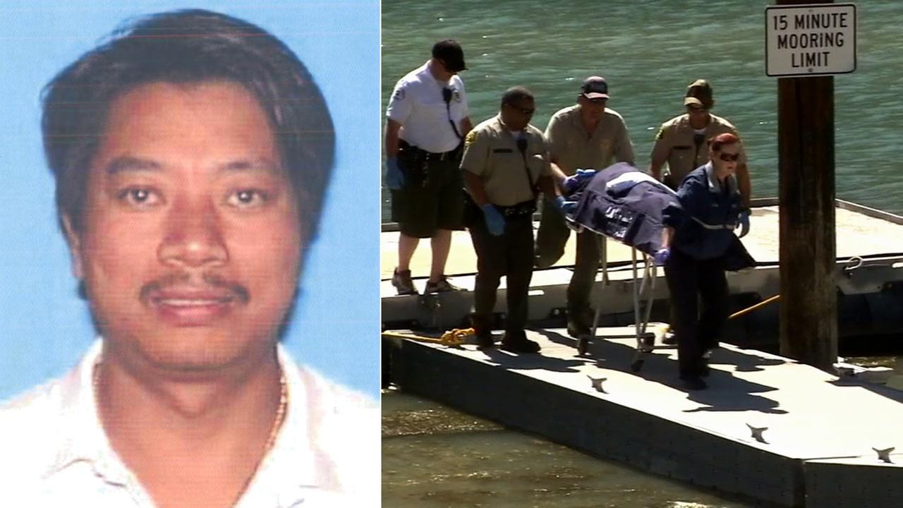 (Left) Rick Tanovan of West Covina is seen in this photo from the CA DMV. (Right) A body is pulled from Pyramid Lake on June 29, 2014.
