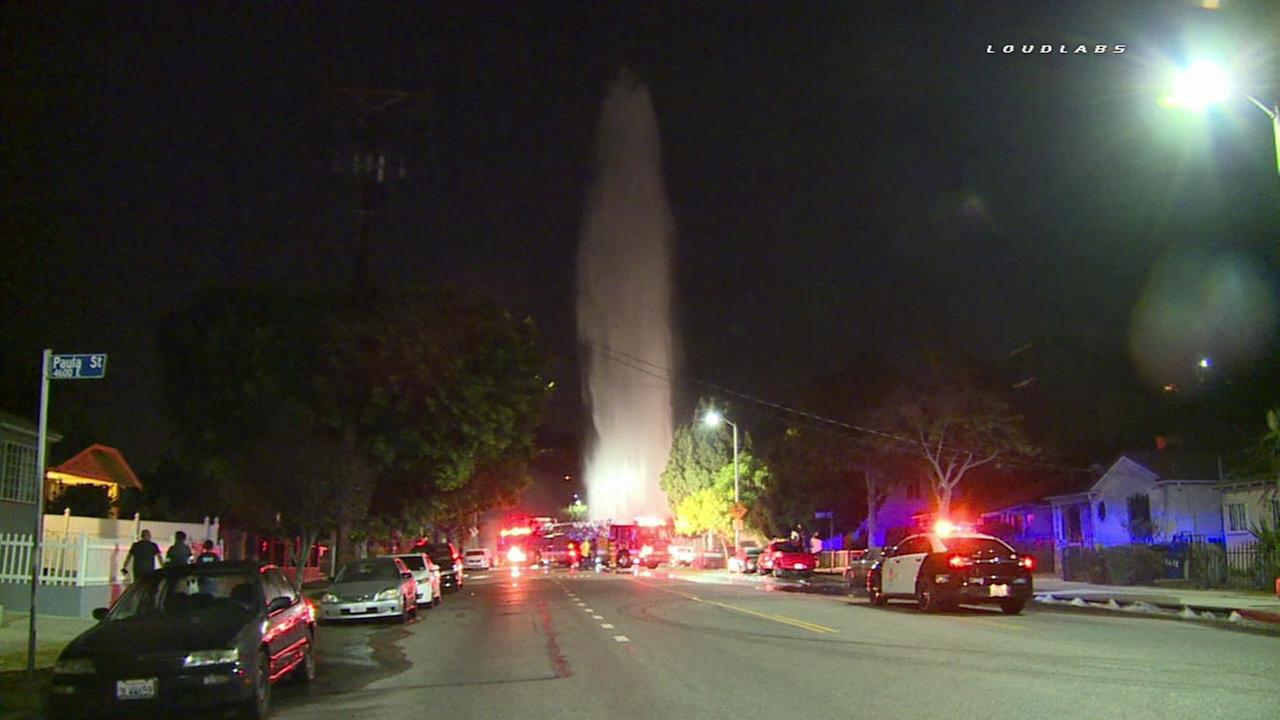 A fire hydrant was sheared in a hit-and-run crash in Monterey Hills on Tuesday, Aug. 30, 2016, sending a 200-foot gusher into the air.