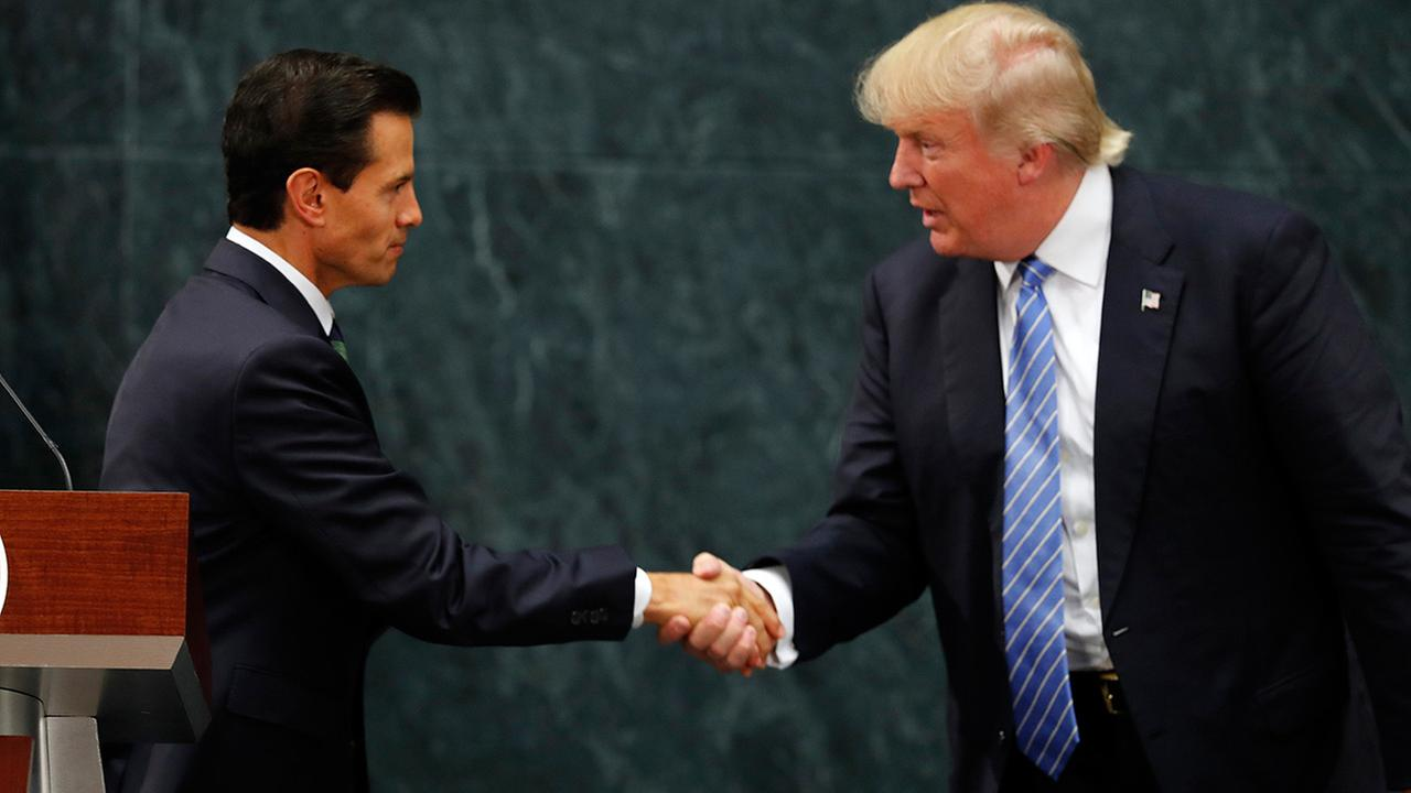 Mexico President Enrique Pena Nieto and Republican presidential nominee Donald Trump shake hands after a joint statement in Mexico City, Wednesday, Aug. 31, 2016.