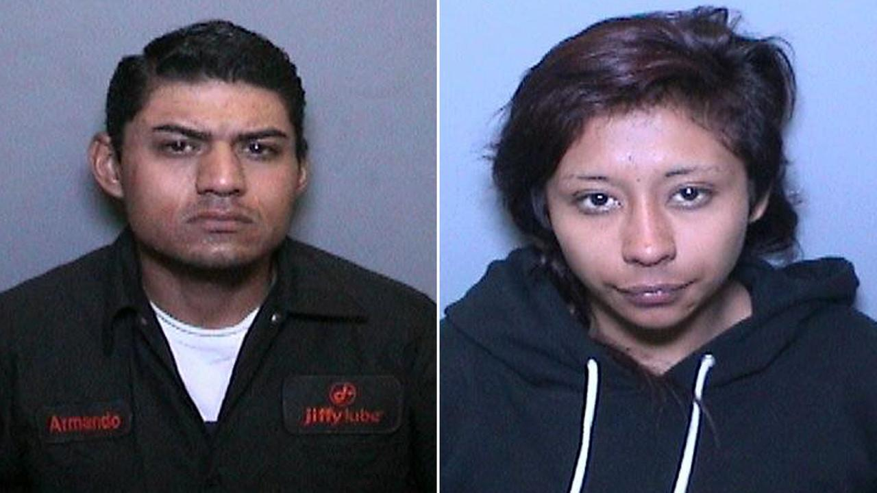 Armando Perez, 26, and April Fabian, 20, were arrested for impersonating officers, according to the California Highway Patrol.