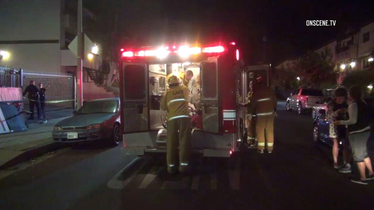 Los Angeles police and firefighter-paramedics responded after a man was shot in Sylmar on Wednesday, Sept. 7, 2016.