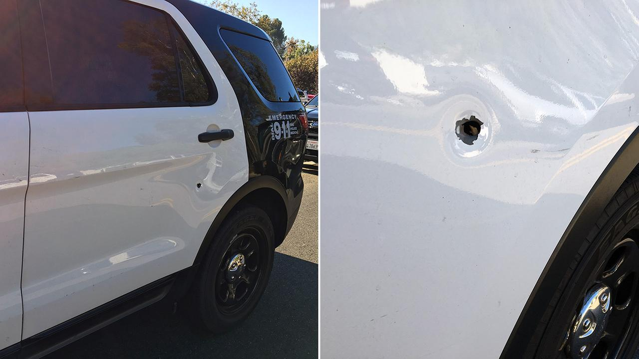 Pictures provided by the Los Angeles Police Department show a patrol vehicle that was shot on the 134 Freeway in Eagle Rock, Los Angeles on Sunday, Sept. 11, 2016.
