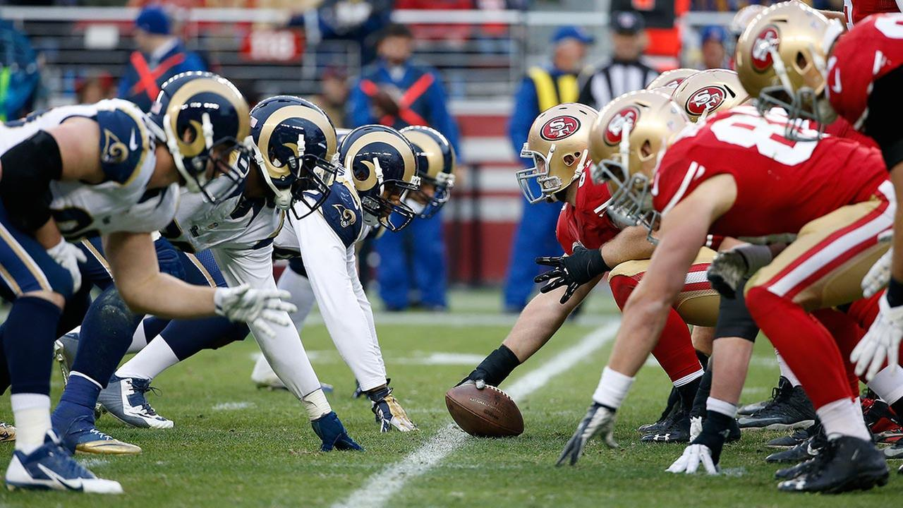 The Rams and 49ers face off at the line of scrimmage during a game in Santa Clara, Calif., Sunday, Jan. 3, 2016.
