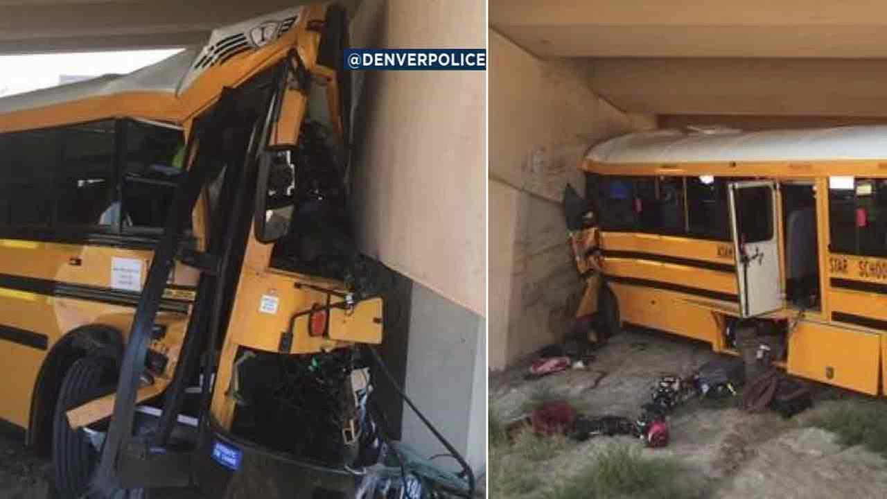 Photos from Denver police capture the aftermath of a school bus crash on Sunday, Sept. 11, 2016.