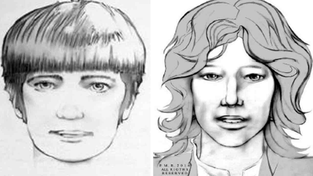 Los Angeles Police Department sketches of two men being sought in connection with a 1969 murder in the Hollywood area.