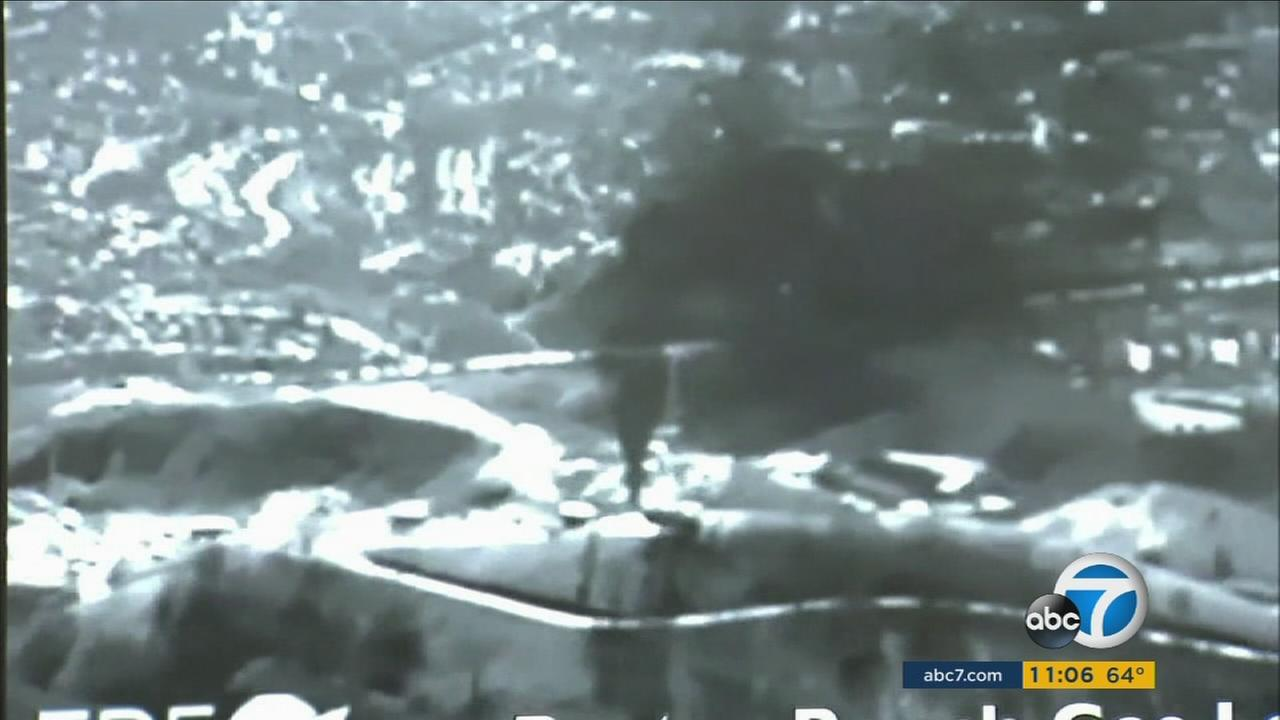 Gas is seen spewing from the Aliso Canyon Gas Storage Facility during a massive gas leak that lasted nearly four months.