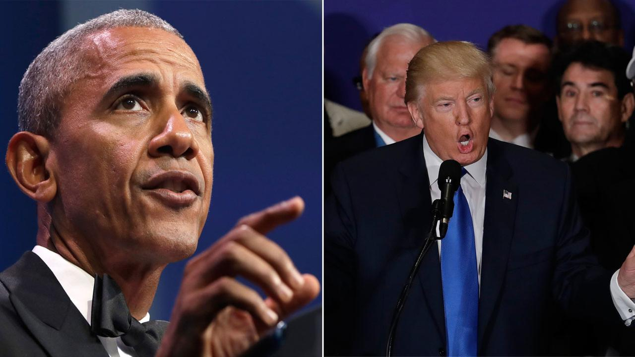 President Barack Obama is shown in a photo taken on Thursday, Sept. 15, 2016, alongside an image of Donald Trump taken on Friday, Sept. 16, 2016.