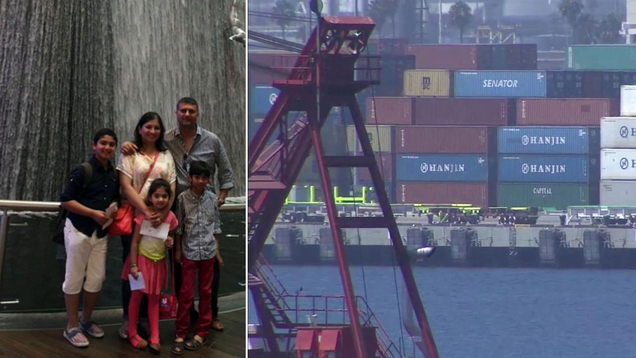 The Jamal family is shown in an undated photo alongside images of Hanjin shipping containers at the Port of Los Angeles.