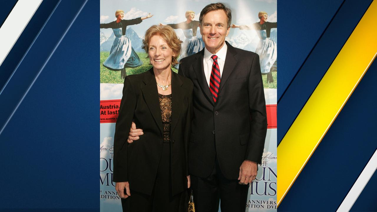 Charmian Carr, left, and Nicholas Hammond who played Liesl and Freidrich von Trapp in The Sound of Music pose for photographers on Thursday, Nov. 10, 2005, in New York.