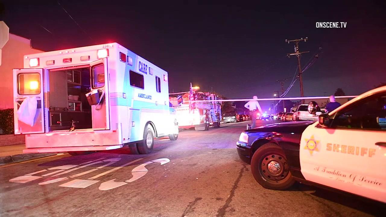 Police and paramedics responded after a man was shot and killed in Bellflower on Sunday, Sept. 18, 2016.