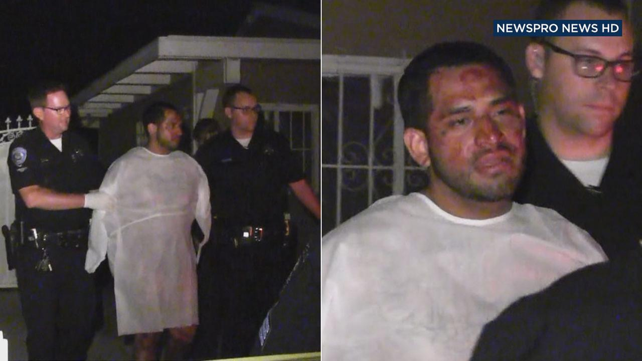 Marvin Ramirez, 29, of Covina, is taken into custody by police in San Bernardino on Tuesday, Sept. 20, 2016.