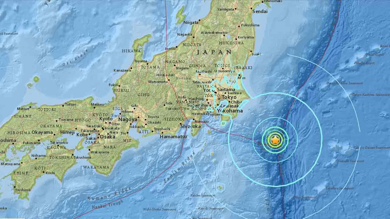 An interactive map from the U.S. Geological Survey shows an earthquake of a 6.3 preliminary magnitude striking Japan on Thursday, Sept. 22, 2016.
