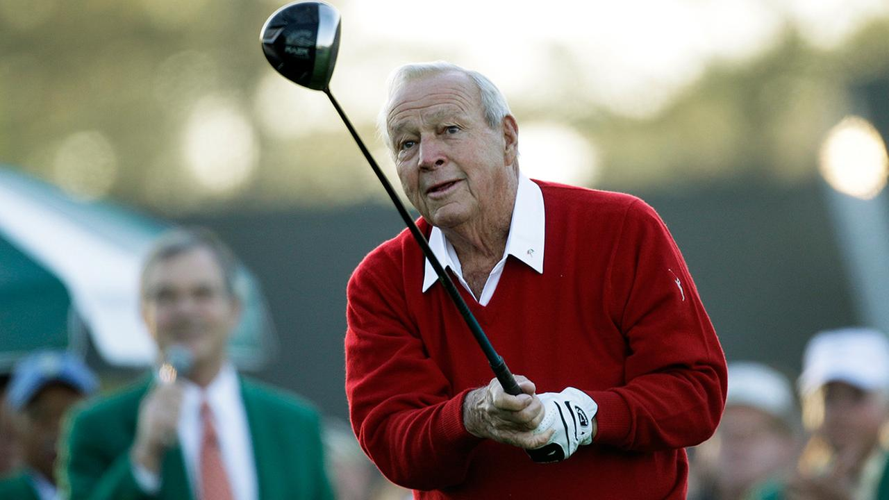 Arnold Palmer reacts after his ceremonial tee shot before the first round of the Masters golf tournament Thursday, April 7, 2011, in Augusta, Ga.