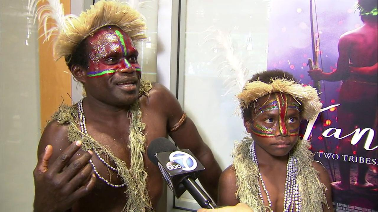Vanuatu tribal members Lingai Kowia (left) and Marceline Seline Rofit of the film Tanna are interviewed in a visit to the ABC7 studio in Glendale.